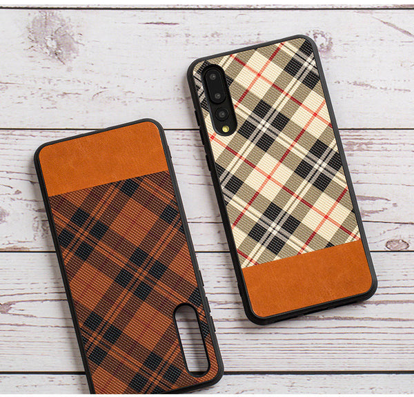 810145-Lattice texture cover silicone edge case for Huawei