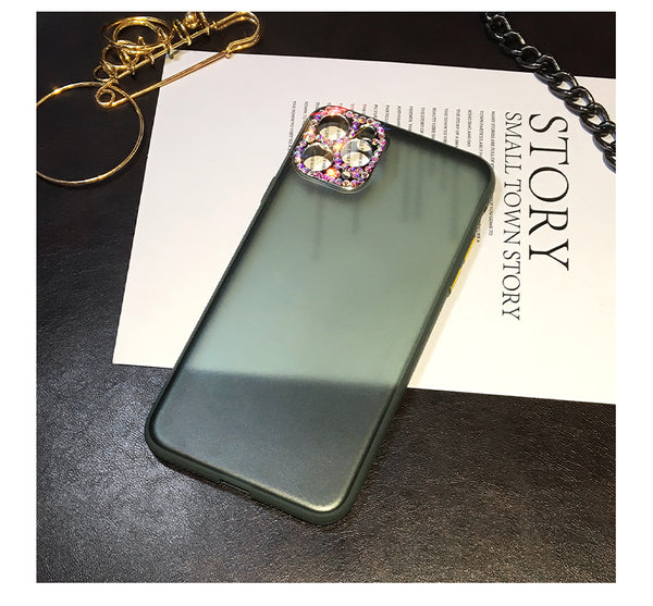 Midnight Green Bling Diamond Camera Protection Matte Case