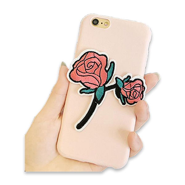 148-Rose Embroidery Cloth Case For iPhone