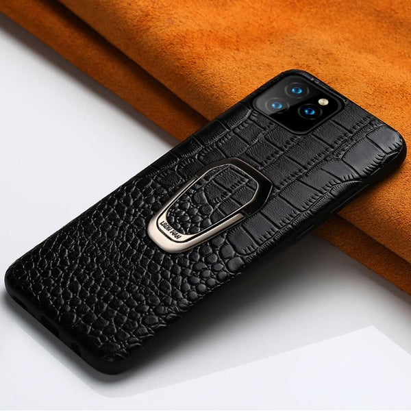 Genuine Leather Magnetic Kickstand case for iPhone