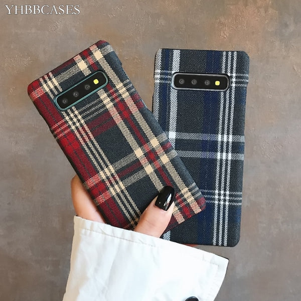Retro England Tweed Plaid Fabric Hard Cases For Samsung Note 10 Plu