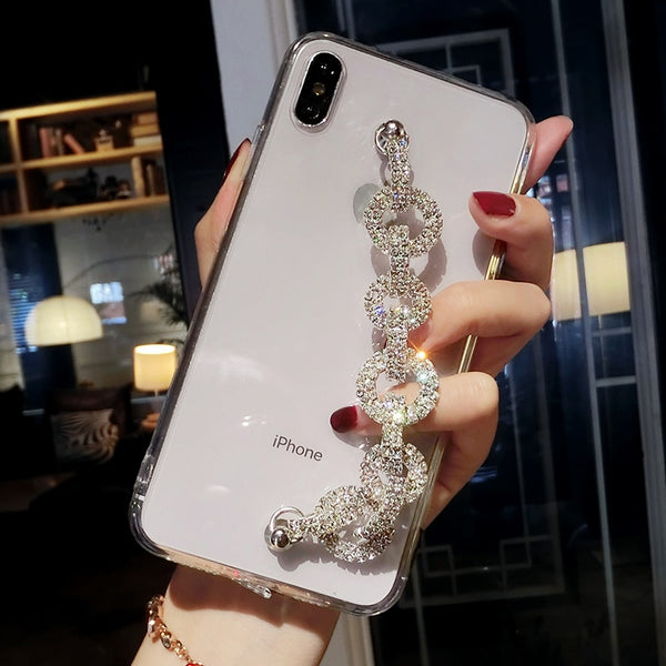 Lady Bling Rhinestone Diamond Bracelet Chain Crystal Case For iPhone