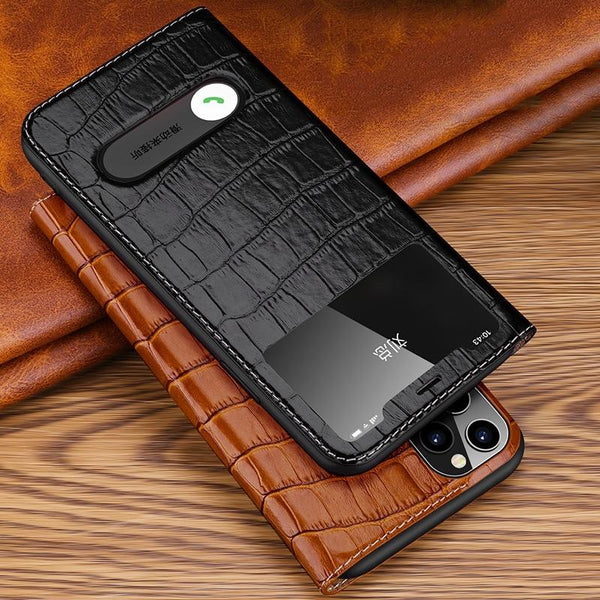 Luxury Leather Window Flip Case For iPhone 11 / Pro Max