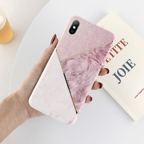 Lovebay Electroplate Geometric Marble Phone Case For iPhone 11