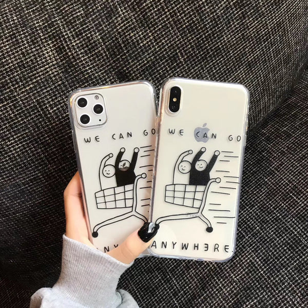 Simple fashion cool fun pattern shopping couple phone case