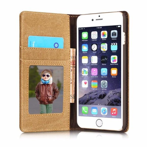 Leisure Retro Canvas Wallet Phone Case For iPhone