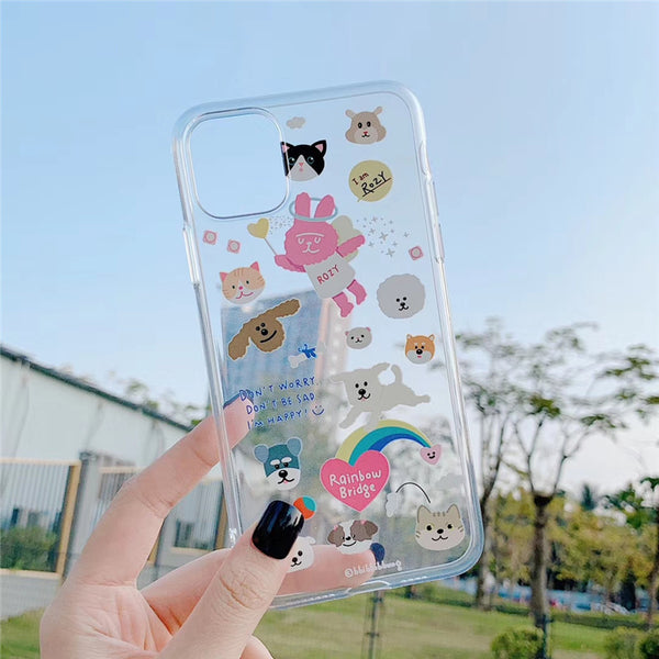 Cute illustration puppy dog art rainbow dogs transparent soft cover for iphone