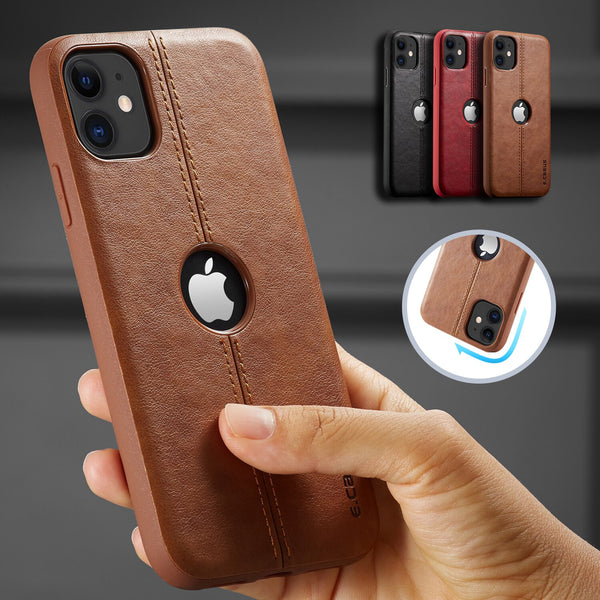 SLIM Luxury Leather Back Case For iPhone Shockproof Case