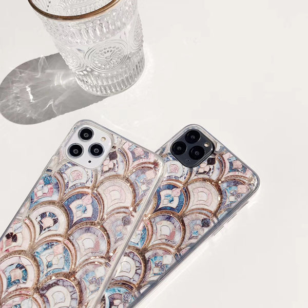 Luxury marble glitter quicksand  fish scale hard silicone phone case for iphone 11 11 Pro 11 Pro Max Plus cute bling cover