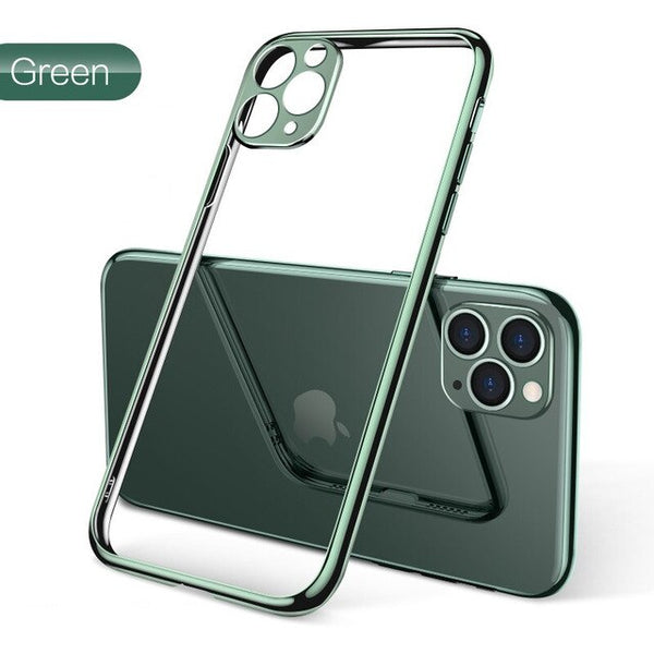 Luxury Soft Silicone Plating Clear Protective Case For iPhone