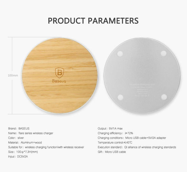 046-Bamboo Wood Wireless Faster Charger