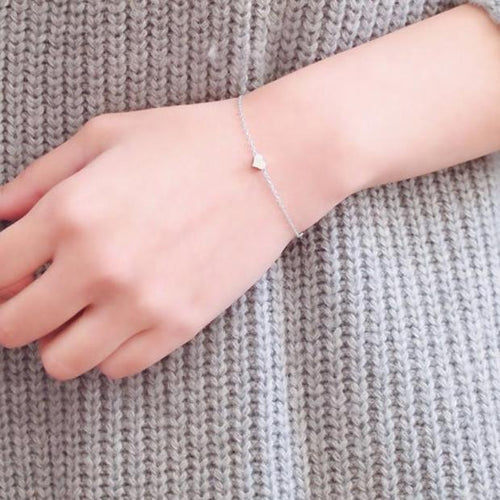 J008-New Fashion Silver Plated Delicate Simple  Heart Bracelet