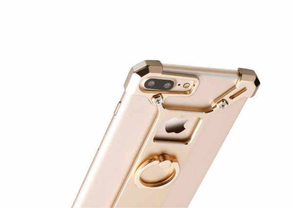 425-Metal Tough Back Cover Ring Shape Holder Case For iPhone
