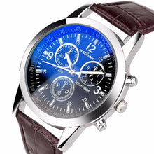 585-Mens Roman Numerals Blue Ray Glass Watches