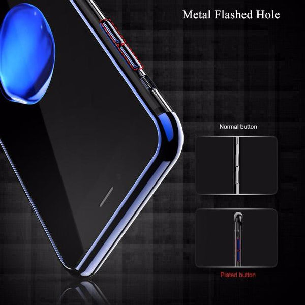 Luxury 3D Arc Gold Plated Black Back Nature Transparent Case For iPhone