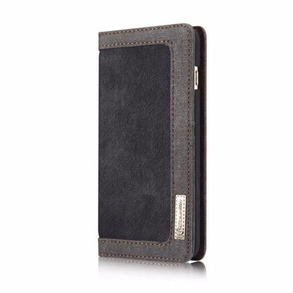 Leisure Retro Canvas Wallet Phone Case For iPhone-black