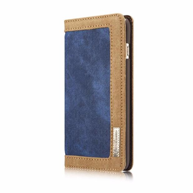 Leisure Retro Canvas Wallet Phone Case For iPhone-blue