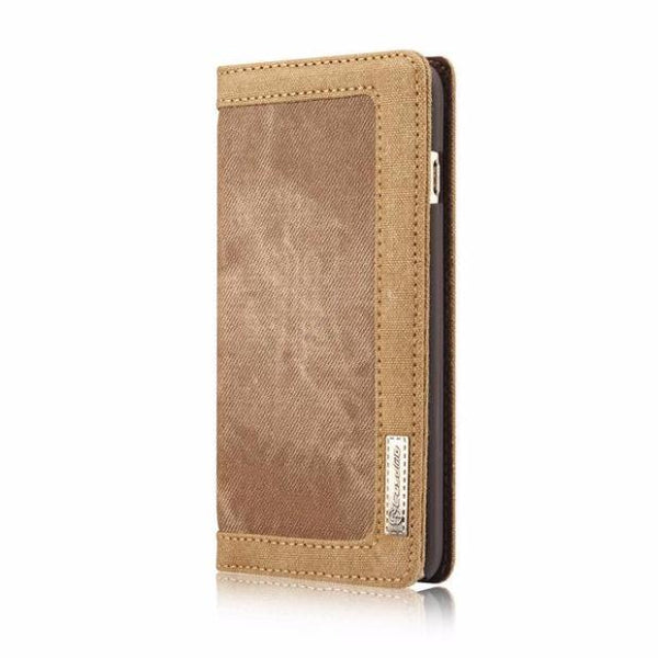 Leisure Retro Canvas Wallet Phone Case For iPhone-brown