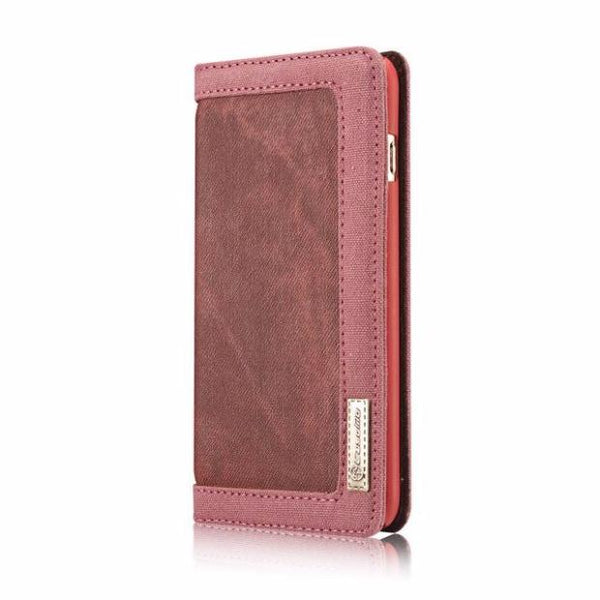 Leisure Retro Canvas Wallet Phone Case For iPhone-red