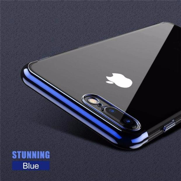 Luxury 3D Arc Gold Plated Black Back Nature Transparent Case For iPhone-cool blue