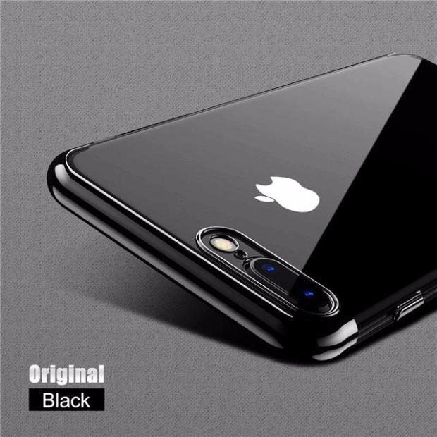 Luxury 3D Arc Gold Plated Black Back Nature Transparent Case For iPhone-hot black