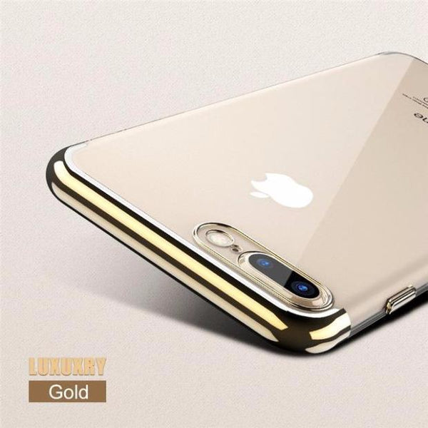 Luxury 3D Arc Gold Plated Black Back Nature Transparent Case For iPhone-gold
