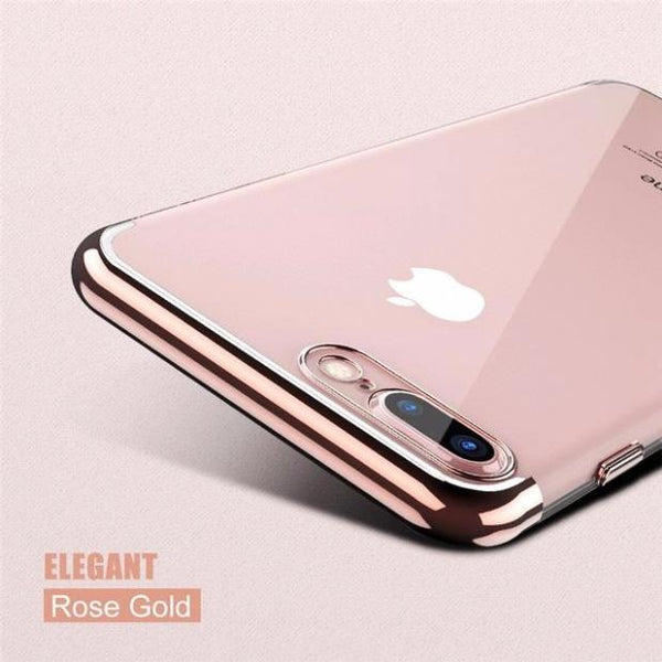 Luxury 3D Arc Gold Plated Black Back Nature Transparent Case For iPhone-rose gold
