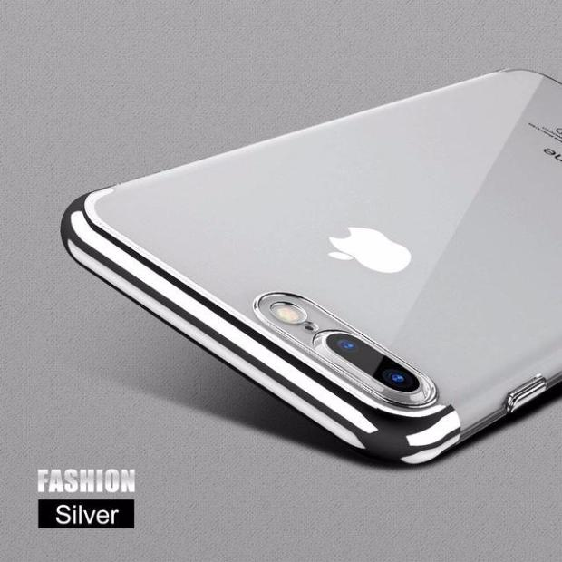 Luxury 3D Arc Gold Plated Black Back Nature Transparent Case For iPhone-fashion silver