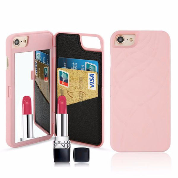 Fashion Mirror Wallet Case For iPhone-pink
