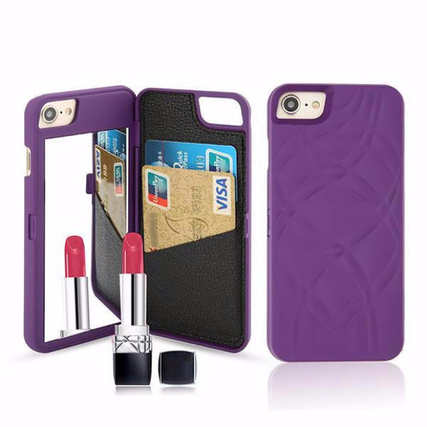 Fashion Mirror Wallet Case For Iphone-purple