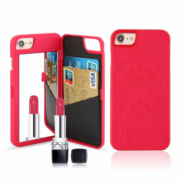 Fashion Mirror Wallet Case For Iphone-red