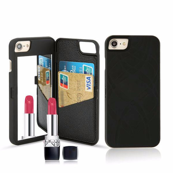 Fashion Mirror Wallet Case For iPhone-black