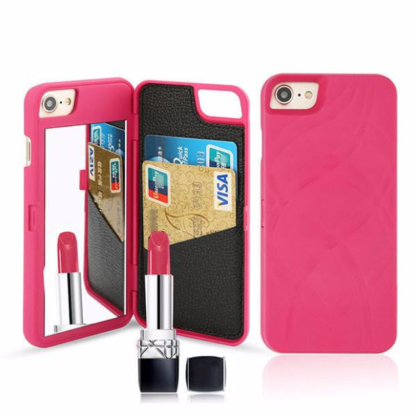 Fashion Mirror Wallet Case For Iphone-rose gold