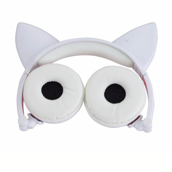 587-New Foldable Flashing Glowing cat ear headphones Gaming Headset Earphone with LED light