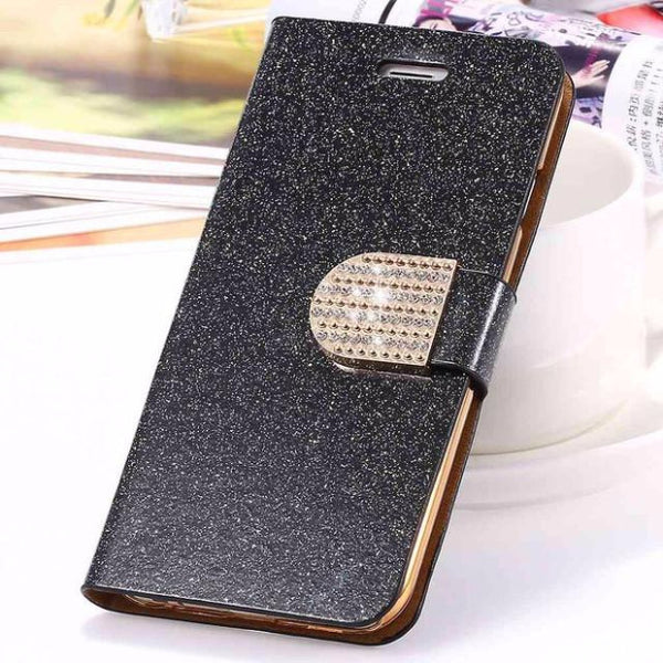 Bling Crystal Diamond Leather Wallet Phone Case For Samsung-black