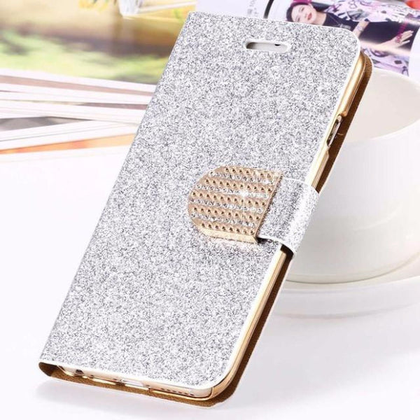 Bling Crystal Diamond Leather Wallet Phone Case For Samsung-silver