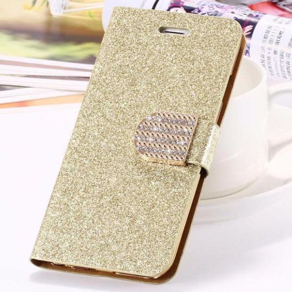 Bling Crystal Diamond Leather Wallet Phone Case For Samsung-gold