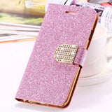 Bling Crystal Diamond Leather Wallet Phone Case For Samsung-pink