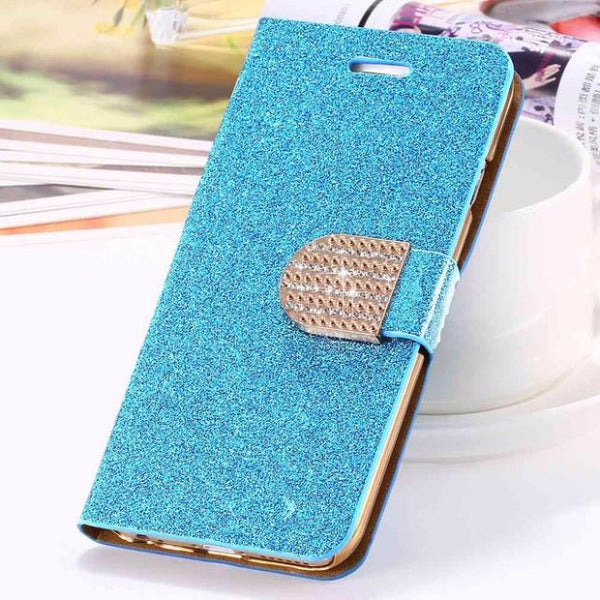 Bling Crystal Diamond Leather Wallet Phone Case For Samsung-blue