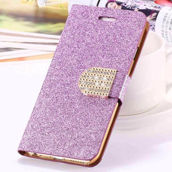 Bling Crystal Diamond Leather Wallet Phone Case For Samsung-purple