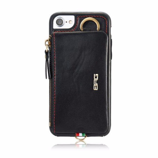 Luxury Genuine Leather Wallet Belt Case For iPhone-Black
