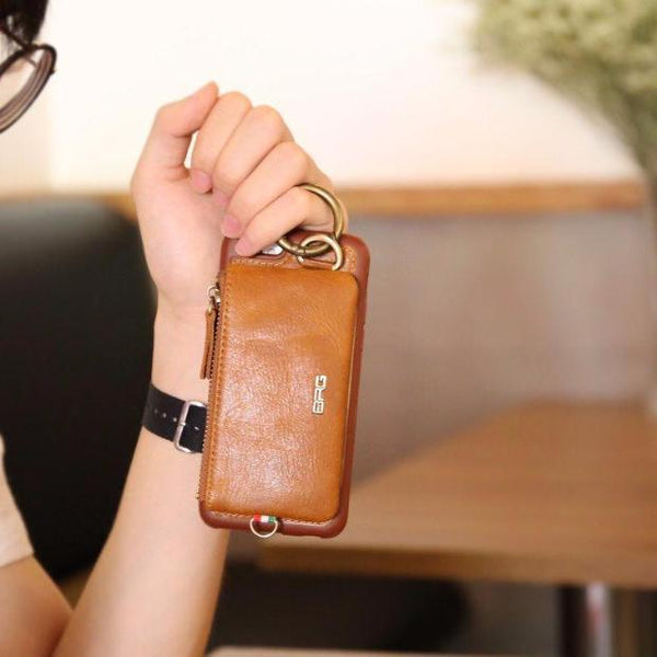 Luxury Genuine Leather Wallet Belt Case For iPhone