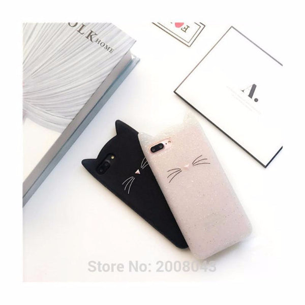 Lovely Glitter Cartoon Cute Cat 3D Silicon Phone Case for iPhone