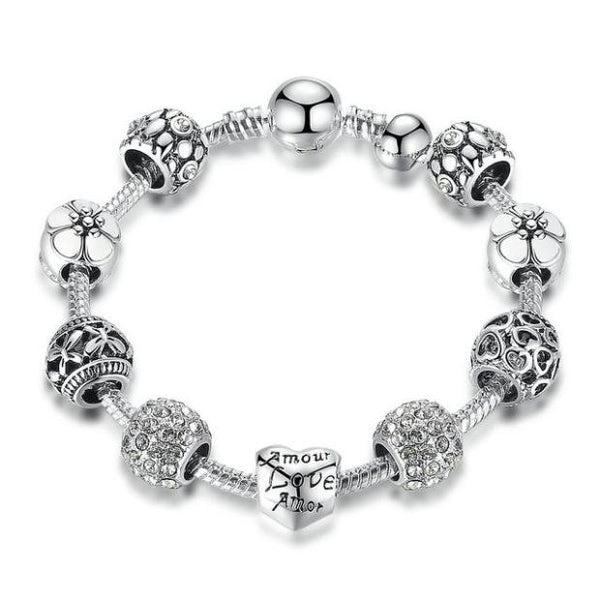 J005-Love and Flower Crystal Ball Antique Silver Charm Bracelet