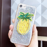 147-Pineapple Embroidered Beads Case For iPhone
