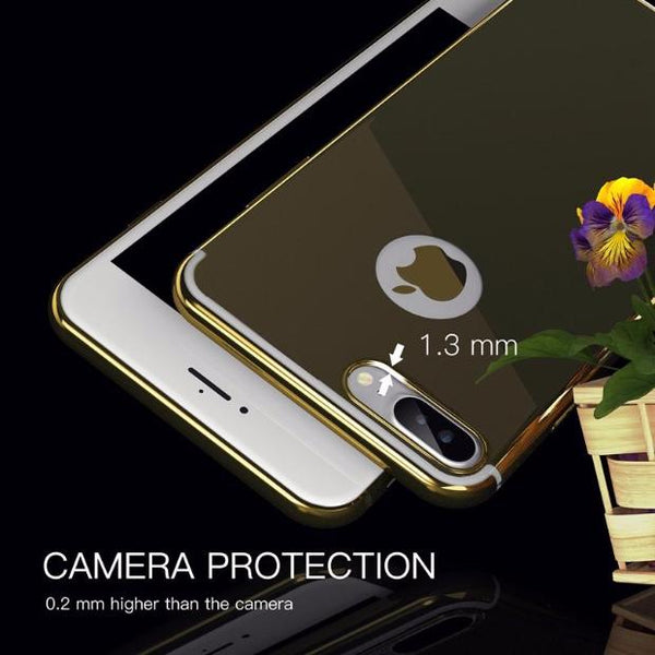 417-Luxury Cute Metal Effect Mirror Case For iPhone