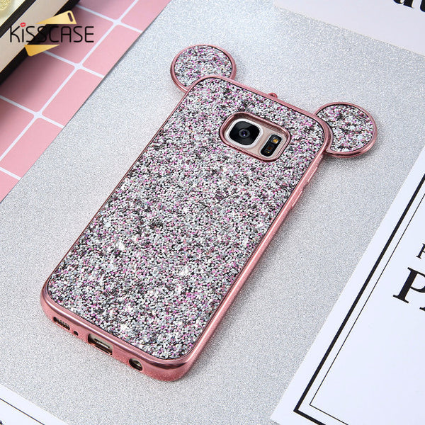 Luxury Bling Sequins Silicone Case for Samsung Galaxy S7 S7 Edge-pink