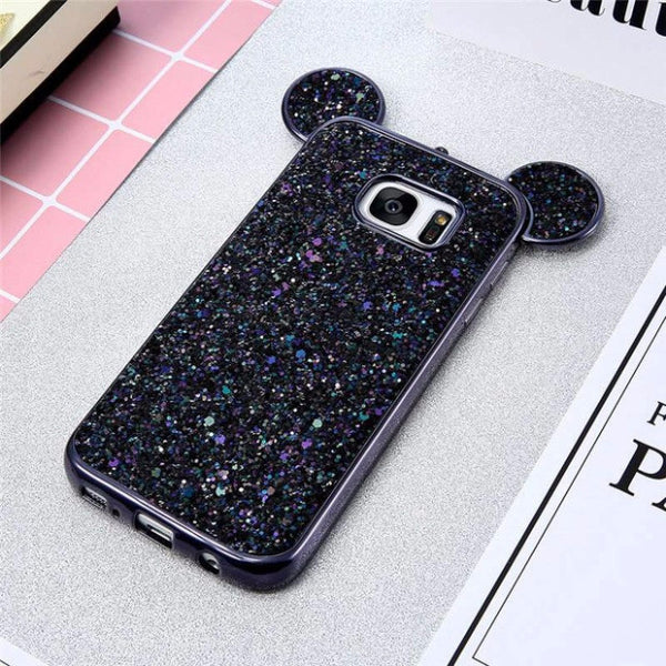 Luxury Bling Sequins Silicone Case for Samsung Galaxy S7 S7 Edge-black
