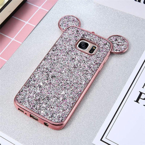 Luxury Bling Sequins Silicone Case for Samsung Galaxy S7 S7 Edge-pink2