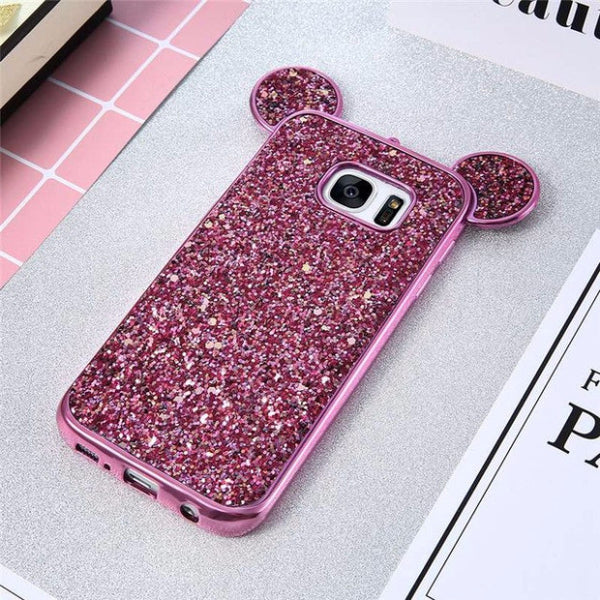 Luxury Bling Sequins Silicone Case for Samsung Galaxy S7 S7 Edge-hot pink